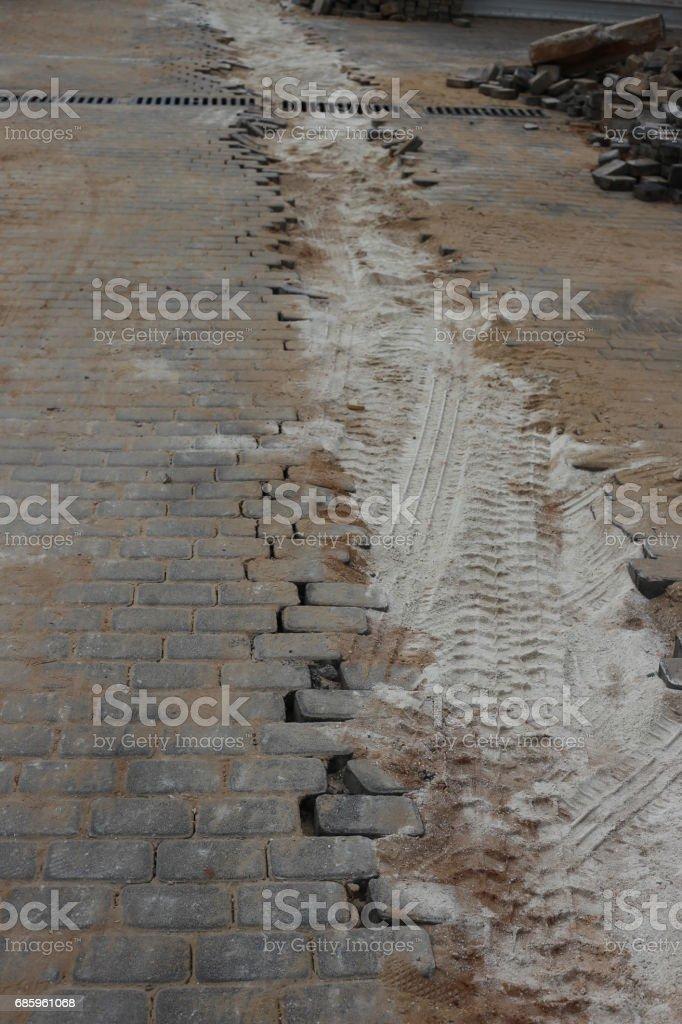 Sidewalk During Renovation. stock photo