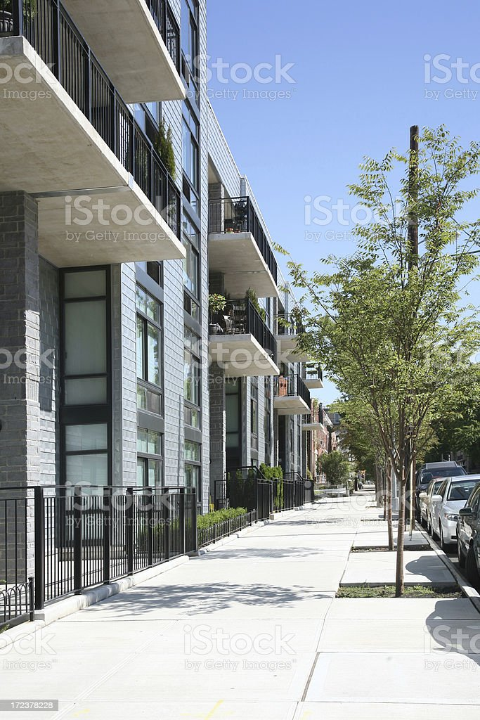 Sidewalk In Front Of New Apartments royalty-free stock photo