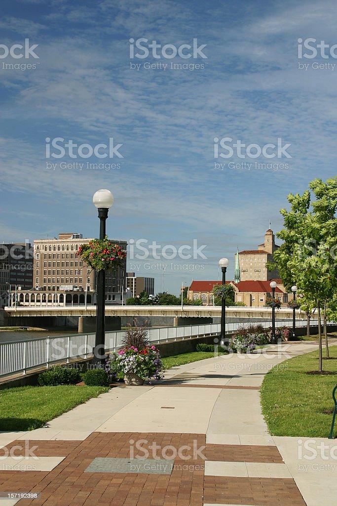 Sidewalk in Park, Dayton, Ohio Skyline royalty-free stock photo