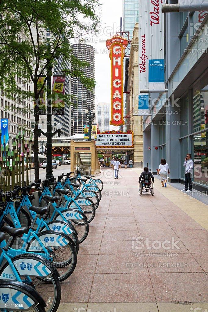 Sidewalk of Chicago stock photo