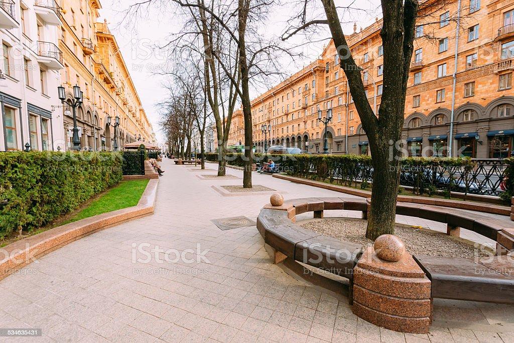 Sidewalk on Lenin Street in spring in Minsk Belarus. stock photo