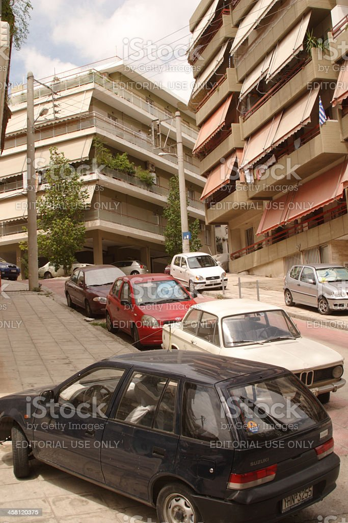 Sidewalk Parking in Athens, Greece stock photo