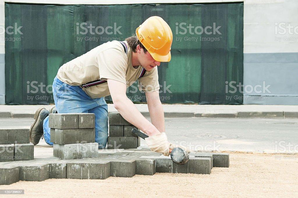 sidewalk pavement construction works royalty-free stock photo