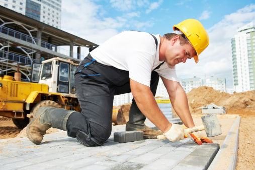 Sidewalk Pavement Construction Works Stock Photo - Download Image Now