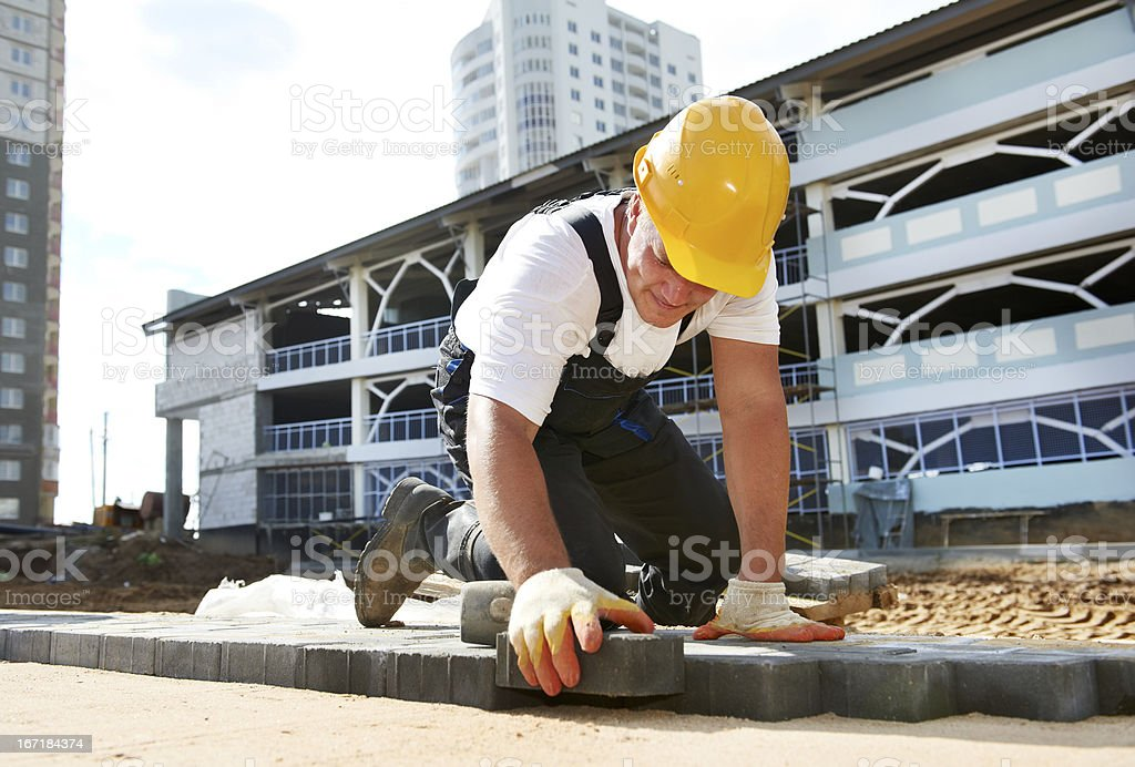 sidewalk pavement construction works stock photo