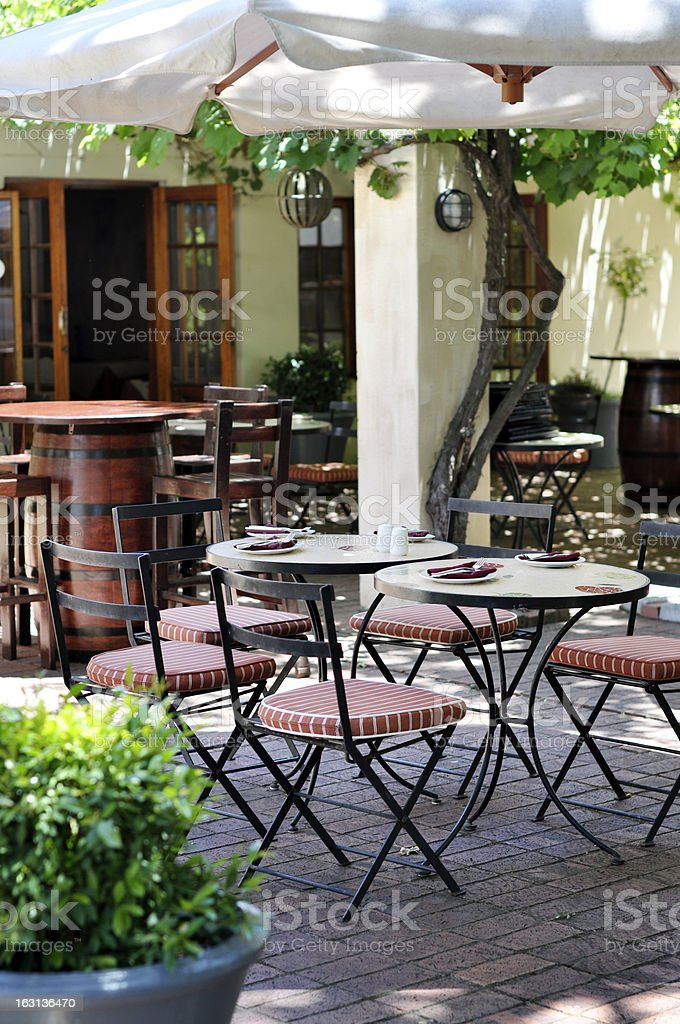 Sidewalk restaurant stock photo