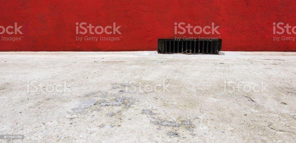Sidewalk street gutter. stock photo