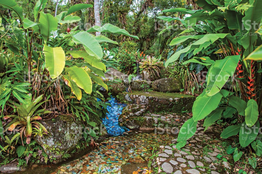 Sidewalk view of stones and colorful tiles amid tropical landscape on cloudy day near Paraty. stock photo