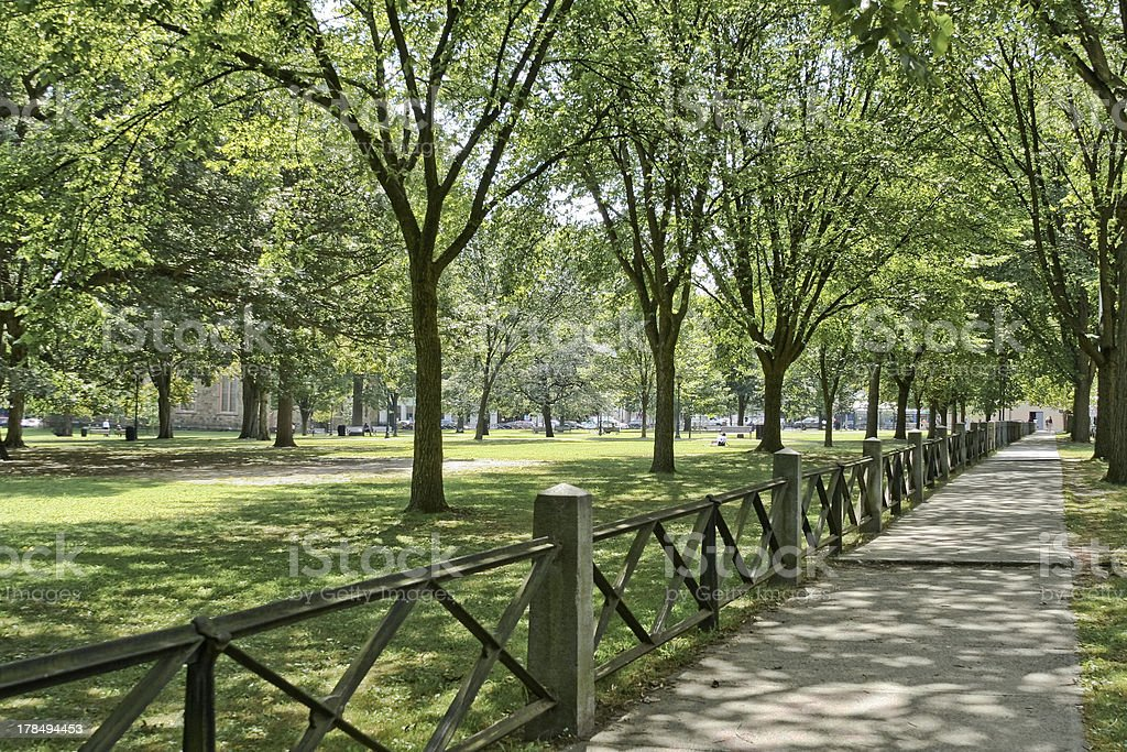A sidewalk with a fence at New Haven green stock photo