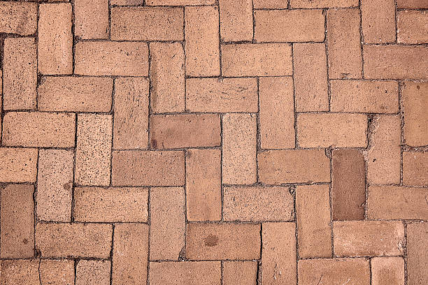 Sidewalk with zig-zag pattern stock photo