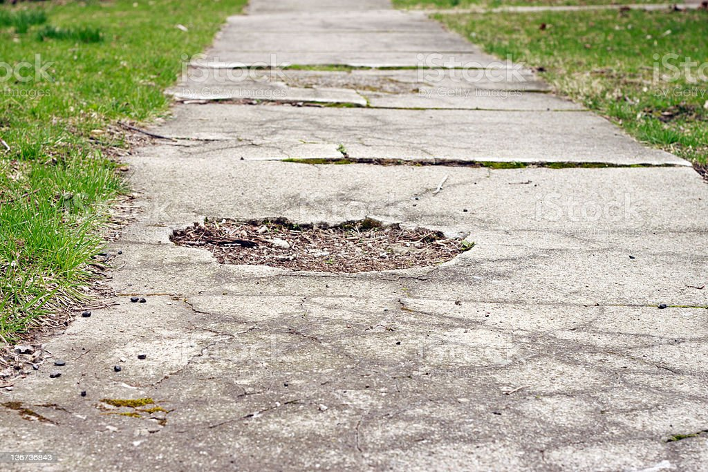 Sidewalk Worn stock photo