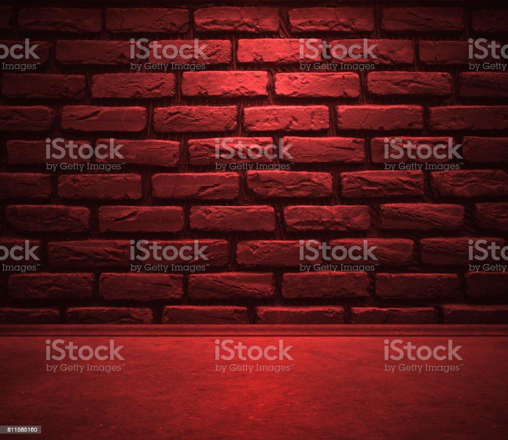 Trottoirs et mur de briques avec lumière rouge - Photo