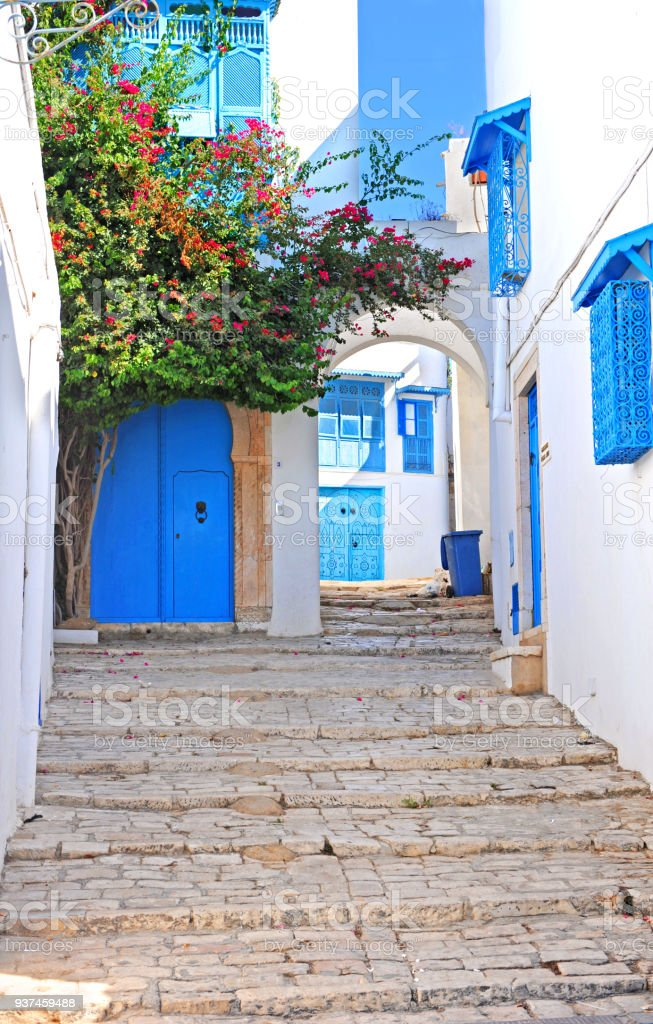 Sidi Bou Said alley stock photo