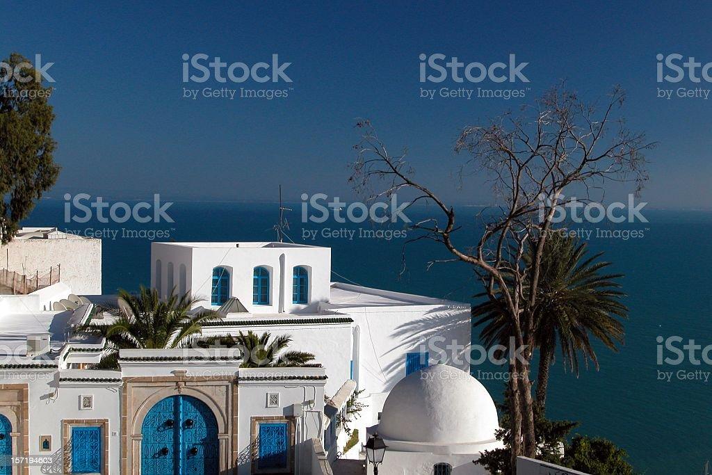 Sidi Bou Said Blue and White Architecture, Tunisia royalty-free stock photo