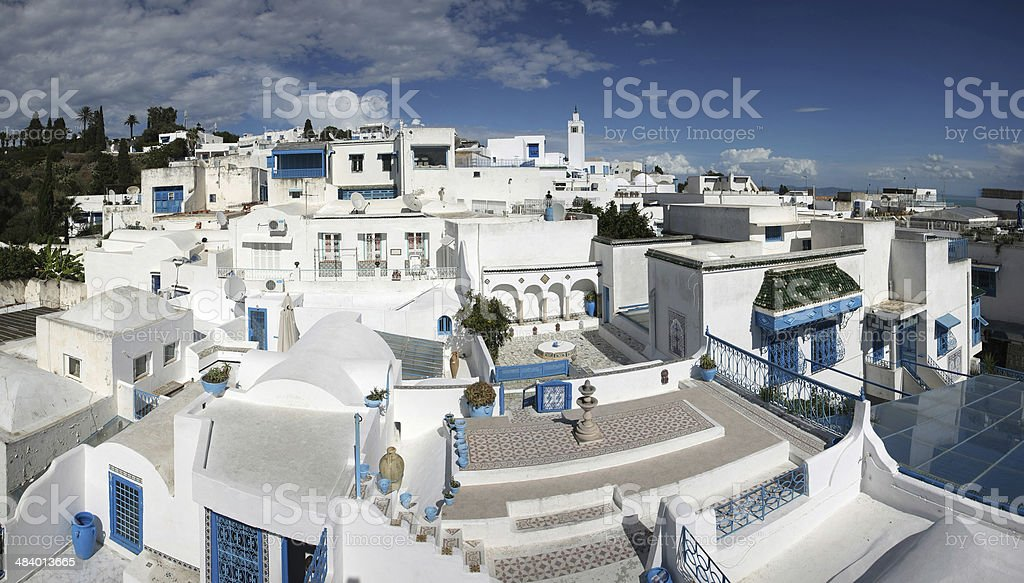 Sidi Bou Said panorama stock photo