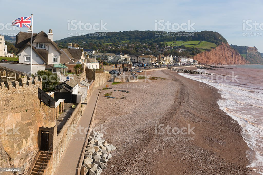 Sidmouth beach and seafront Devon England UK the Jurassic Coast stock photo