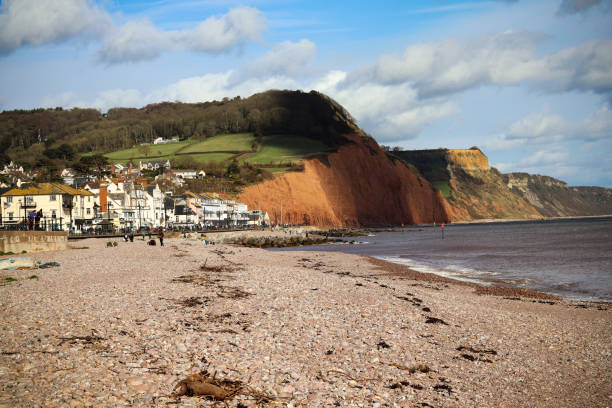 Sidmouth beach in Devon stock photo