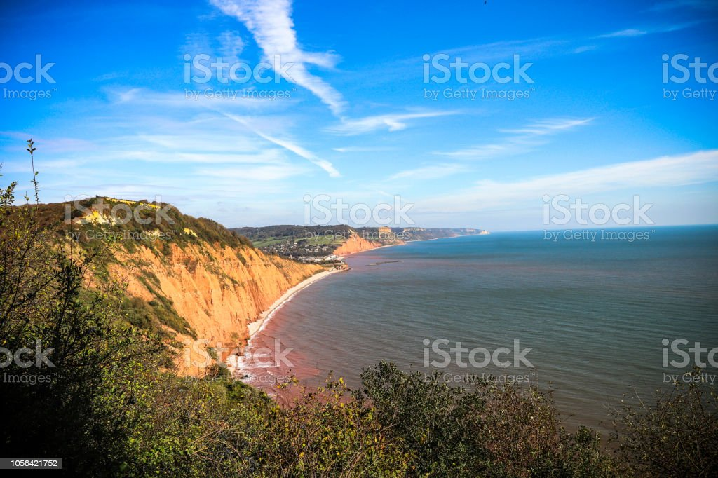 Sidmouth coastline and cliffs stock photo