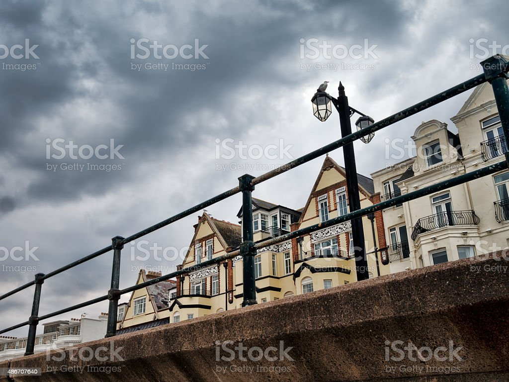 Sidmouth, Devon, UK. View from the beach. stock photo