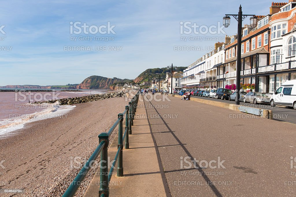 Sidmouth Promenade Devon England late summer sunshine stock photo