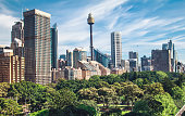 Sidney cityscape panorama and Hyde park view