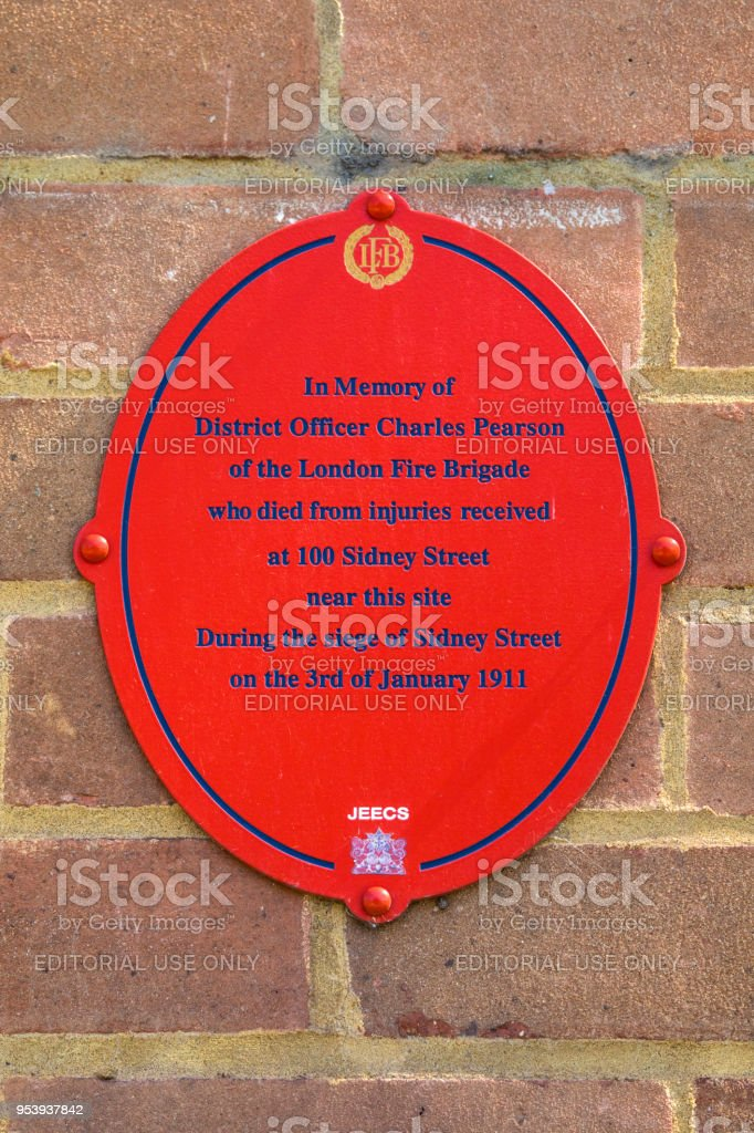 Sidney Street Siege Plaque in London, UK stock photo