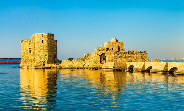 sidon sea castle in lebanon - the crusades stock photos and pictures