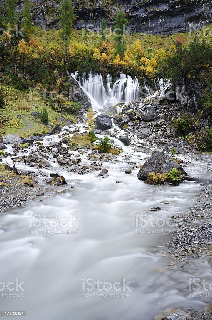 Siebenbrunnen in Simmental waterfall long exposure royalty-free stock photo