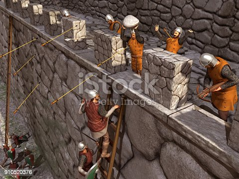 istock Siege to a medieval castle 910520376