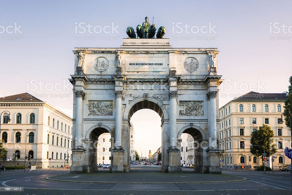 Siegestor triumphal arch in Munich, Germany at dusk stock photo