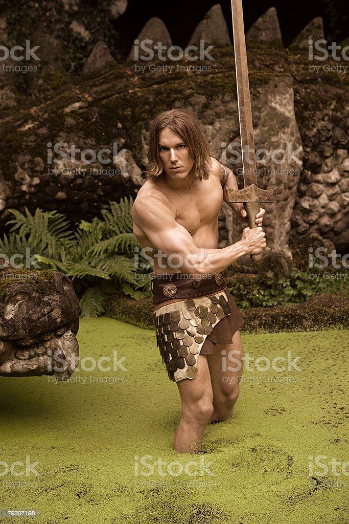Siegfried 물 (칼, 용 royalty-free 스톡 사진