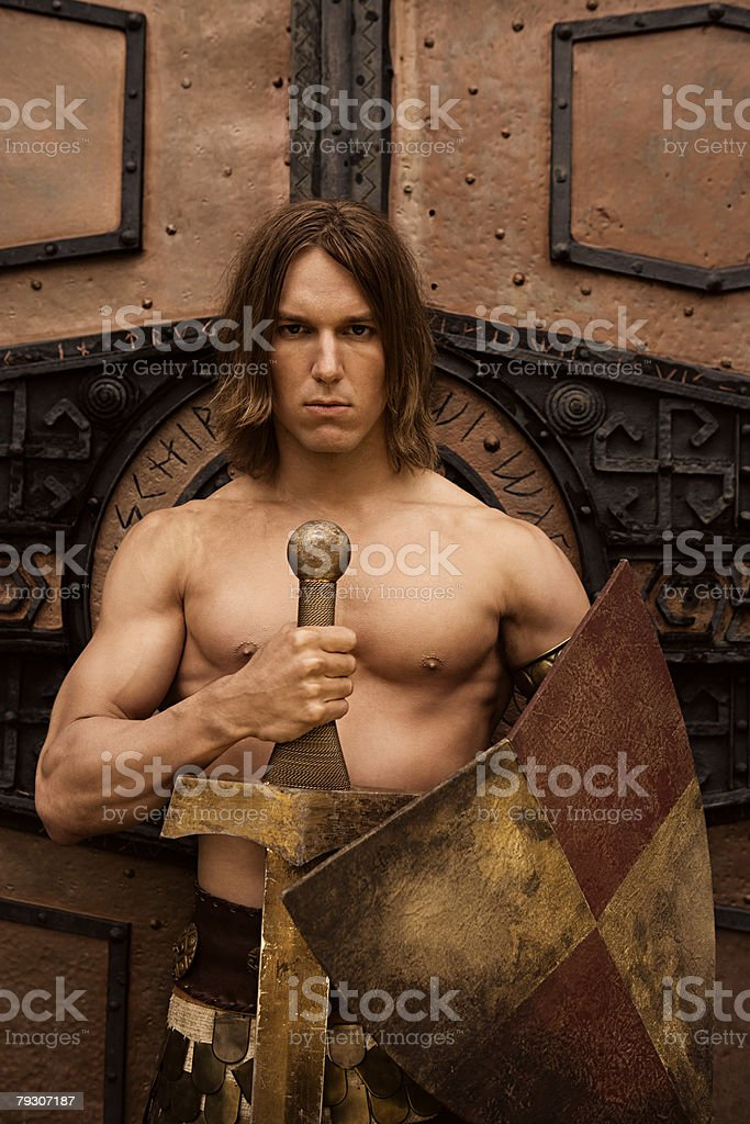 Siegfried with sword and shield 免版稅 stock photo