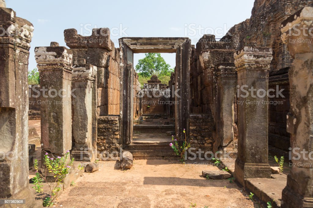 Siem Reap, Cambodia Angkor Wat Ruin frame stock photo
