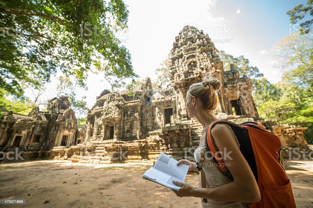 Siem Reap,Cambodia-Tourist with travel guide book stock photo