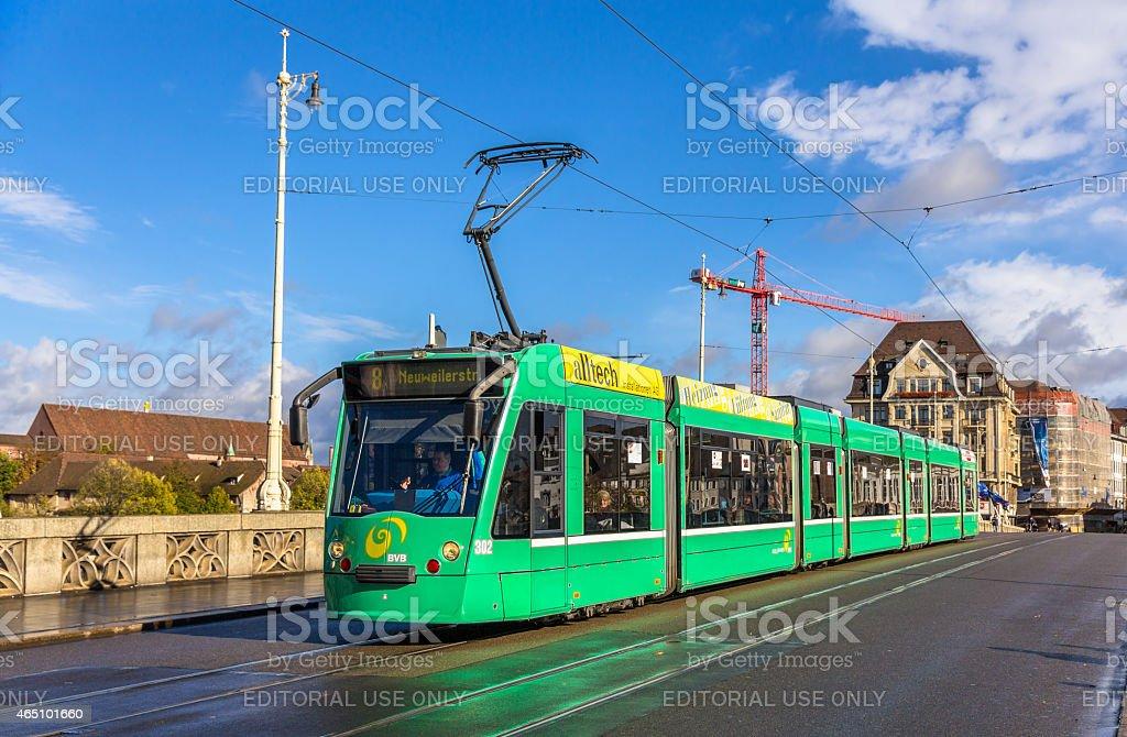 Siemens Combino tram on Middle Bridge in Basel stock photo