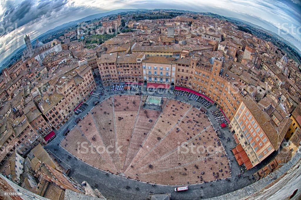 siena aerial view panorama cityscape stock photo