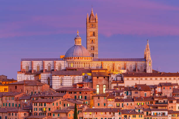 Siena. Cathedral at sunset. stock photo