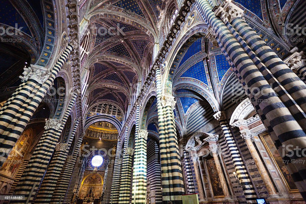 Siena Cathedral Featuring Marble Stripe Columns, Duomo di Siena, Italy stock photo