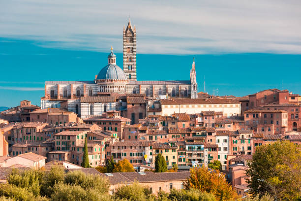 Siena Cathedral in the sunny day, Tuscany, Italy stock photo