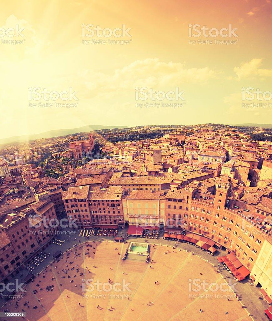 Siena city panorama aerial view stock photo