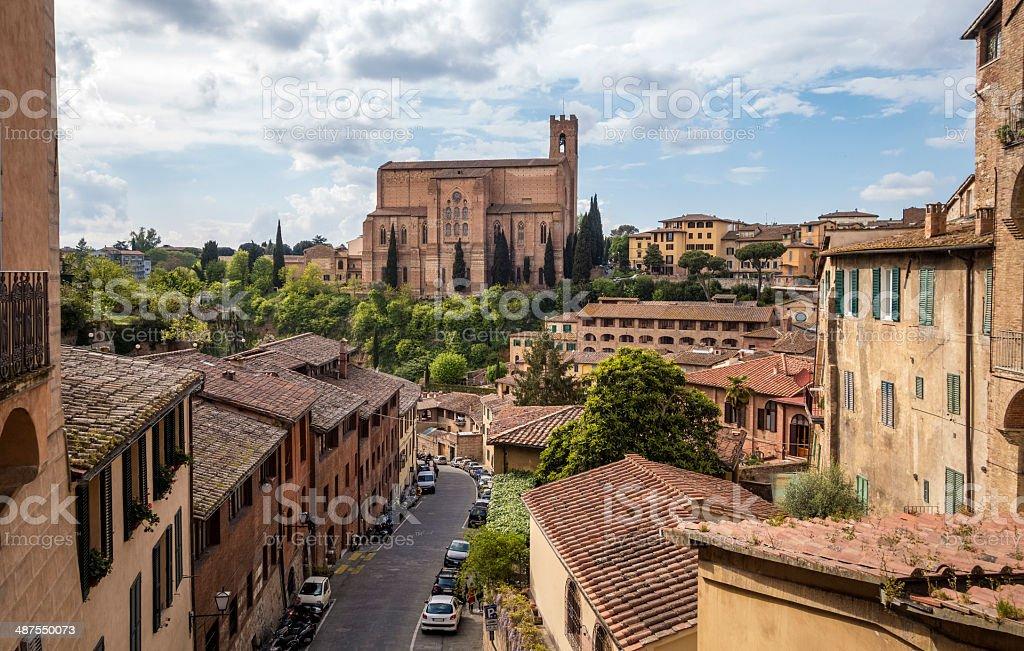 Siena cityscape with St Domenico Catherine Basilica, Tuscany Italy royalty-free stock photo