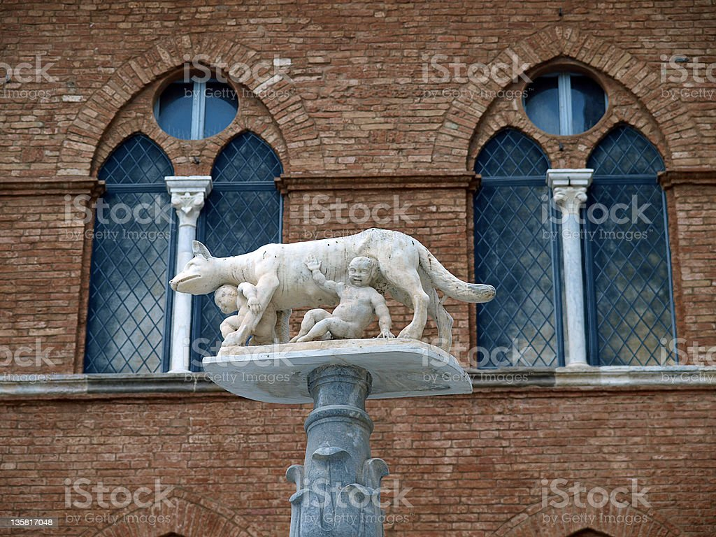 Siena - column with the she-wolf stock photo