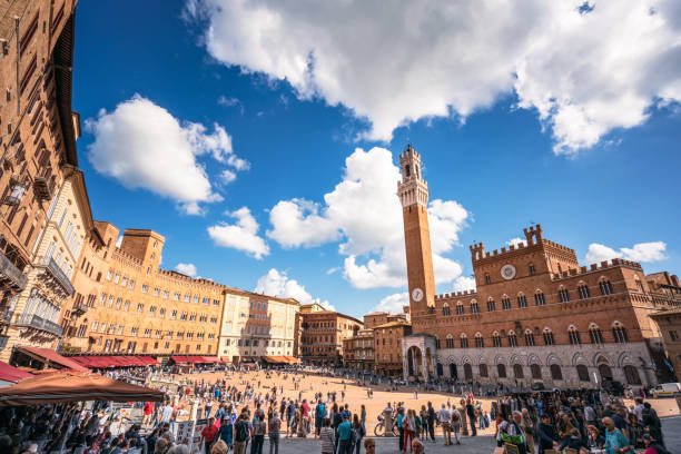 Siena - Wide angle view of the Piazza del Campo stock photo
