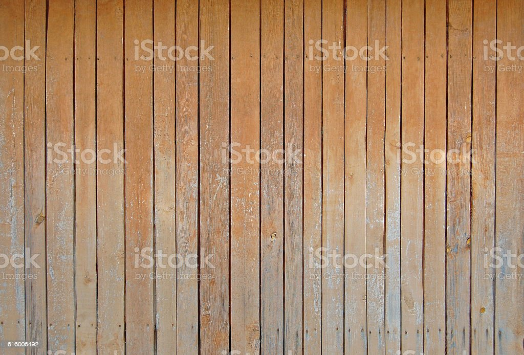 Sienna brown old wooden fence. wood palisade background. planks texture stock photo