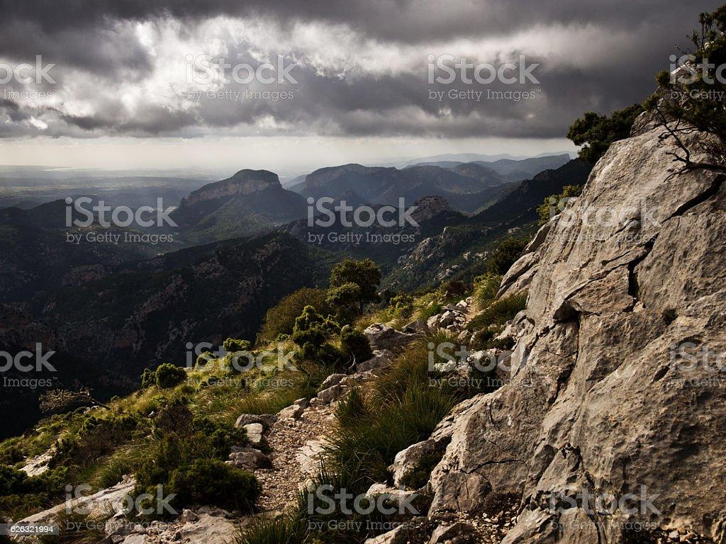 Sierra de Tramuntana mountain range on balearic island Majorca stock photo