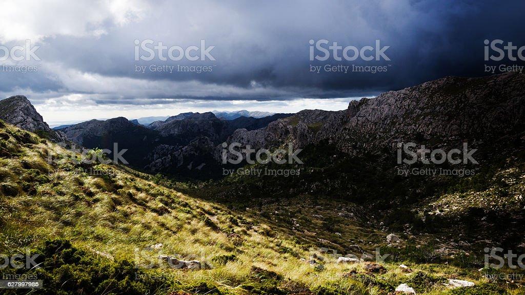 Sierra de Tramuntana mountains on Majorca under moody sky stock photo