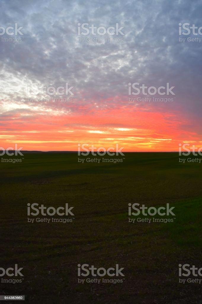 SW Sierra Farm Sunset stock photo