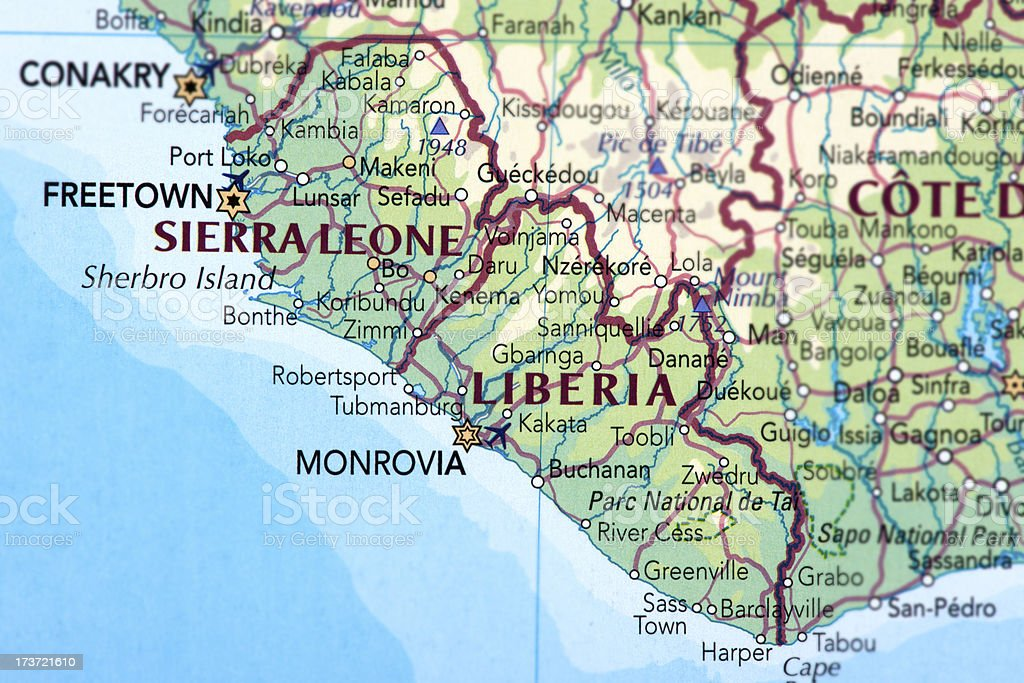 Sierra Leone and Liberia stock photo