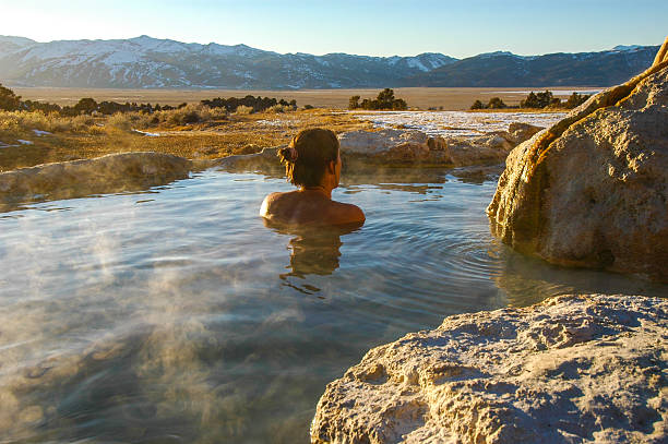 sierra nevada hot spring view - hot spring stock photos and pictures