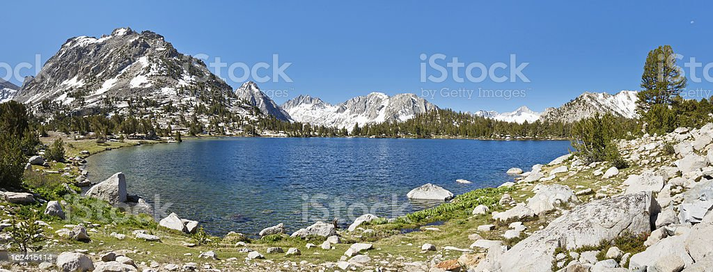 Sierra Nevada Mountain Lake Panorama stock photo